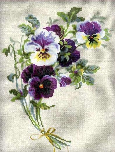 Набор для вышивания крестом Букет анютиных глазок №1020 фирма Риолис
