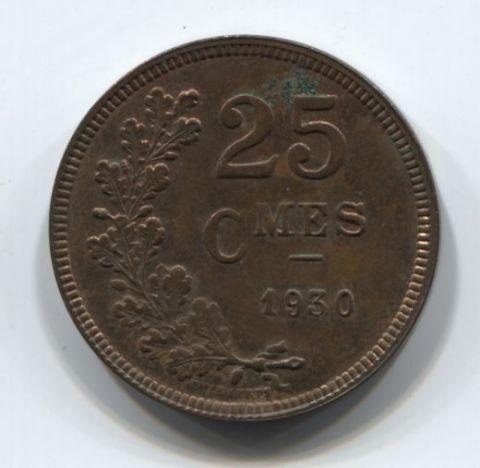 25 сантимов 1930 года Люксембург XF