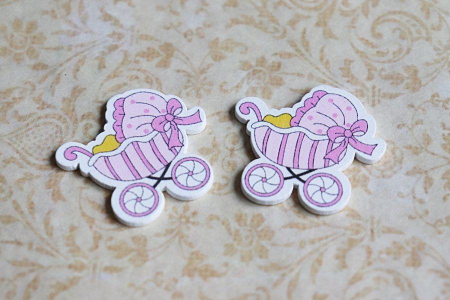 Деревянный стикер, Розовая коляска, 3,5*3 см