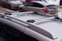 Багажник на рейлинги Nissan Terrano (2014-...), Lux Hunter, серебристый, крыловидные аэродуги