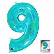 "Цифра ""9"" тиффани голография в упаковке, 40""/ 102 см"