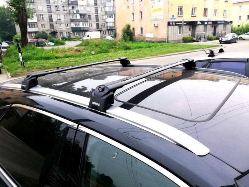 Багажник на крышу Lexus RX 300 (IV, 2015-...), Turtle Air 2, аэродинамические дуги на интегрированные рейлинги (черный цвет)