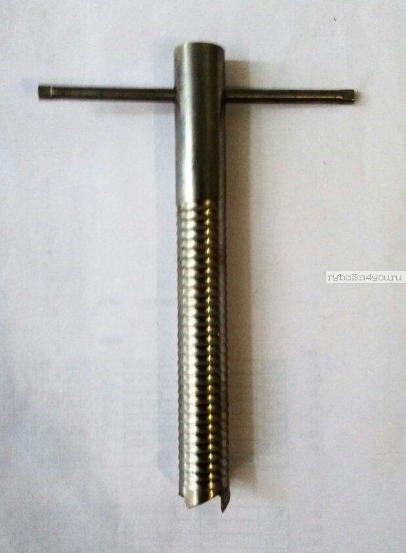 Ввертыш для зимних палаток пустотелый, сдвижная ручка, нерж. сталь, 17см