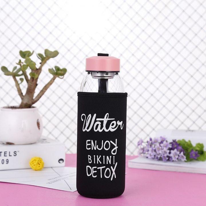 Стеклянная бутылка для напитков в чехле Water Enjoy Bikini Detox, 875 мл