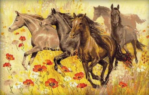 Набор для вышивания крестом Табун лошадей №1064 фирма Риолис