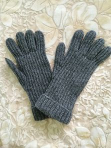 кашемировые вязаные перчатки мужские с подворотом (стёжка кардиган) ,100% драгоценный кашемир, цвет Тёмносерый Mid Grey  CARDIGAN STITCH