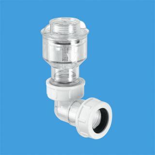 """Обратный клапан (подпружиненная мембрана) вертикальный 3/4""""«мама»хДу=19-23мм (компрессионное соединение) в комплекте с отводом на 90°; цвет-прозрачный"""