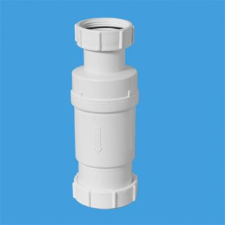 """Самозакрывающийся сливной клапан (""""сухой"""" сифон); вход 1 1/2""""«мама», выход компрессионный Ду=50мм. Упакован в блистер."""
