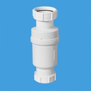 """Самозакрывающийся сливной клапан (""""сухой"""" сифон); вход 1 1/2"""";«мама», выход компрессионный Ду=40мм. Упакован в блистер."""