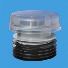Вентиляционный клапан (аэратор) для канализации с подпружиненной мембраной, манжетой и прозрачной крышкой; выход универсальный на 110мм; пропускная способность 30 л/сек