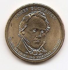 Джеймс Бьюкенен (1857-1861) 15 президент США 1 доллар США  2010  Монетный двор Р