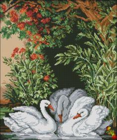Феникс Колибри. Восточный Пейзаж с Лебедями. А2 (набор 2775 рублей)