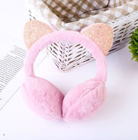 Шапка Наушники утеплённые зимние с ушками розовые