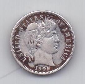 1 дайм 1909 года AUNC США