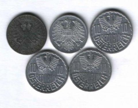 Набор монет Австрия 1954-1972 г. 5 шт.