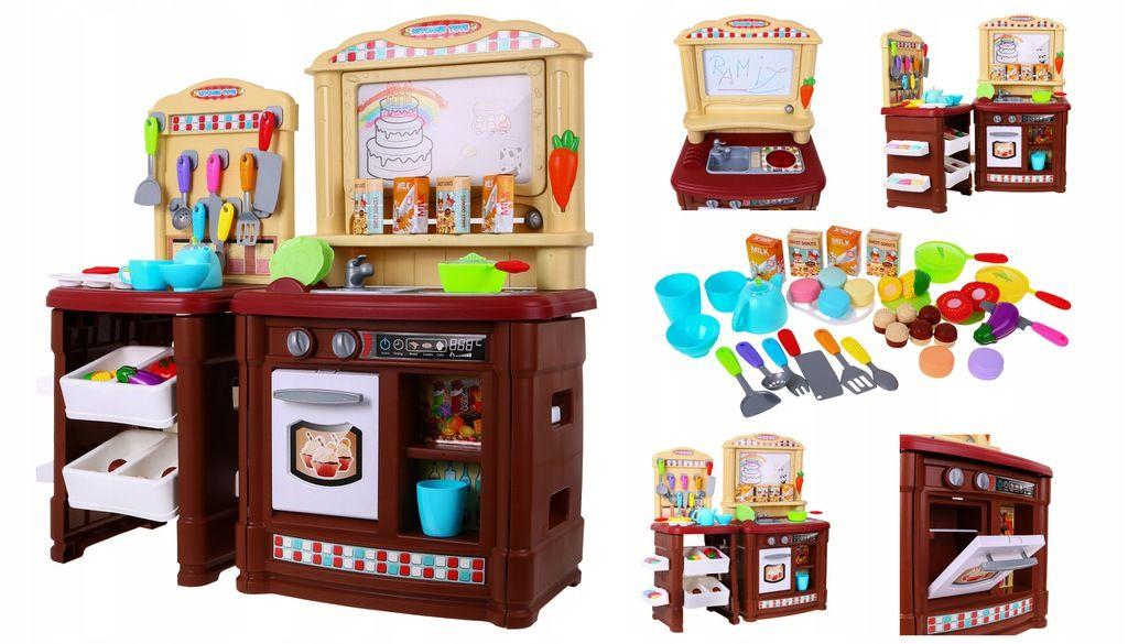 BL101B Кухня детская с водой, звуком, светом, 66 аксессуаров, с доской для рисования