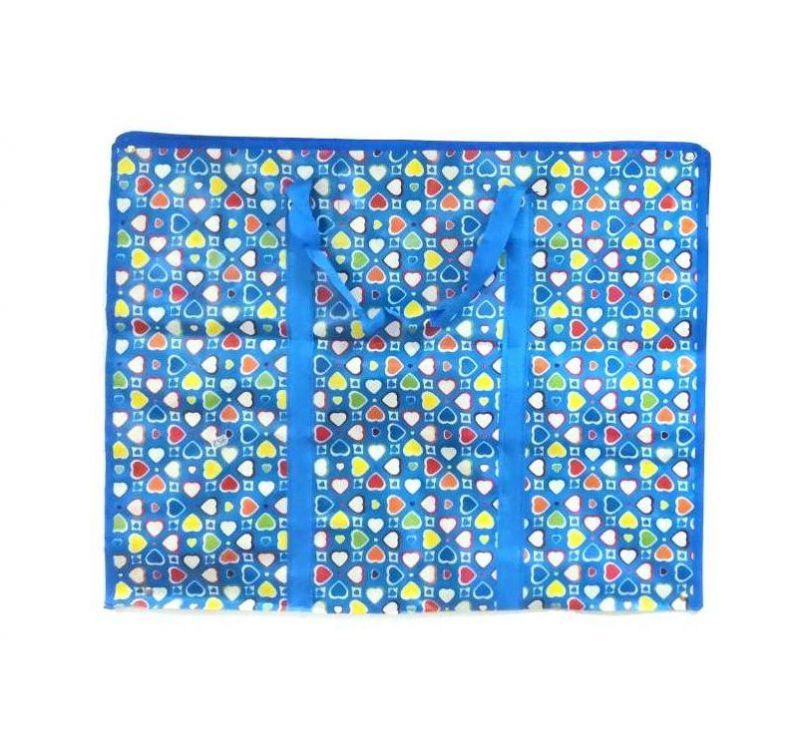 Двухслойная прочная хозяйственная сумка на молнии, 70х55х22 см, Цвет Голубой