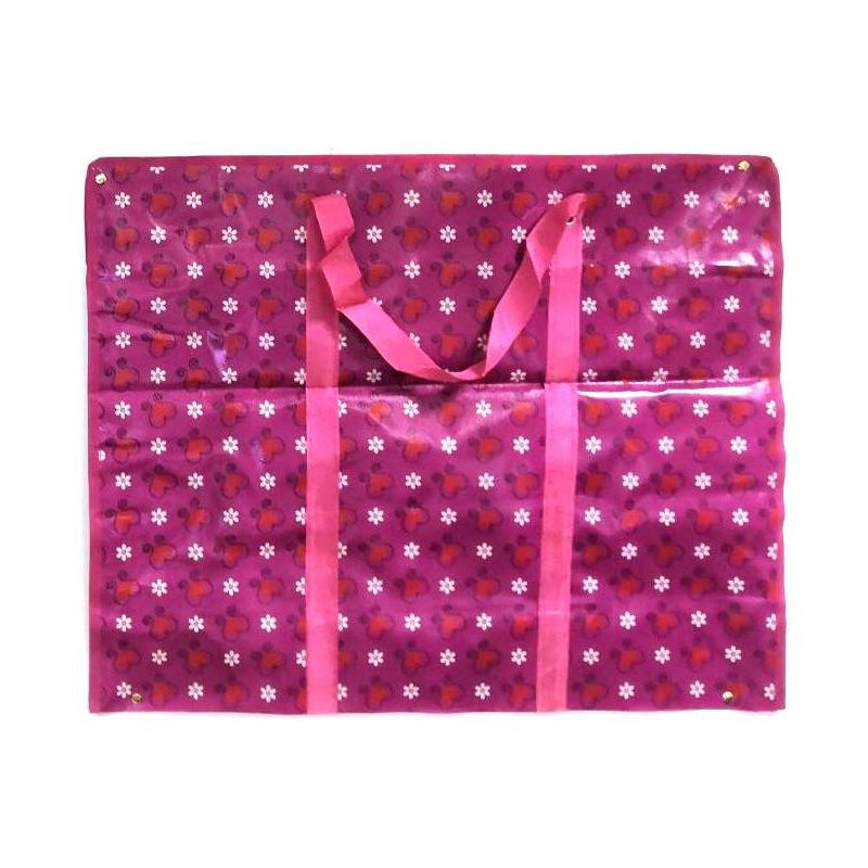 Двухслойная прочная хозяйственная сумка на молнии, 70х55х22 см, Цвет Розовый