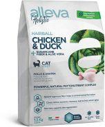 Alleva Holistic Hairball Chicken & Duck + Sugarcane fiber & Aloe vera Полнорационный сухой корм для взрослых кошек, склонных к образованию комков шерсти, 400 гр