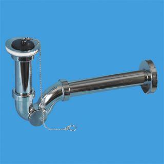 """—ифон трубный P-образный (1 1/4""""х32мм) металлический с выпуском (60мм нержавеюща¤ решетка), пробкой, цепочкой, ревизией, отводной трубой D32мм и отражателем; выход ƒн=32мм; цвет-хром"""