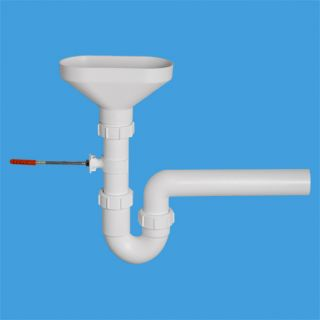 """сифон трубный Р-образный (1 1/2""""х40мм) для разрыва потока/струи с овальной (170ммх85мм) приемной воронкой и горизонтальной отводной трубой D40мм; в комплекте крепеж к стене"""