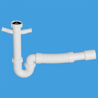 сифон трубный P/S - образный (1 1/2'х40мм) без выпуска c 2-мя адаптерами под углом для слива бытовой техники и отводным раздвижным (L300-500мм) коленом под 90°; выход Дн=40/50мм