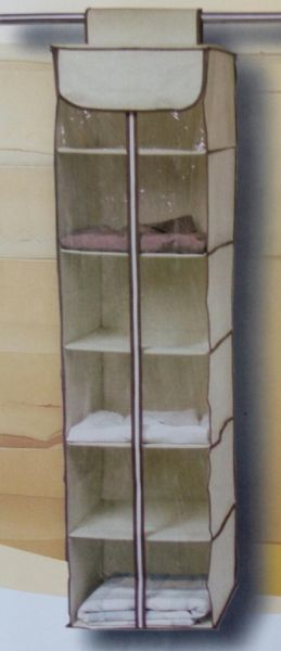Подвесной кофр на 6 полок с молнией ORGANIZADOR ROPA C, 30х30х120 см