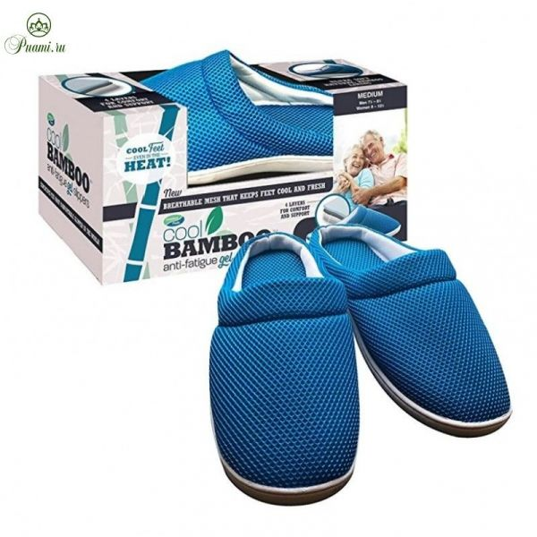 Бамбуковые тапочки Cool Bamboo Anti-Fatigue Gel Slippers, размер 42-43