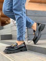 Женские брендовые лоферы Гуччи (Gucci) черные купить в интернет магазине