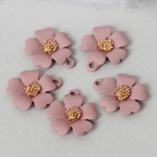 Кукольный аксессуар Подвеска Цветок пыльная роза матовый