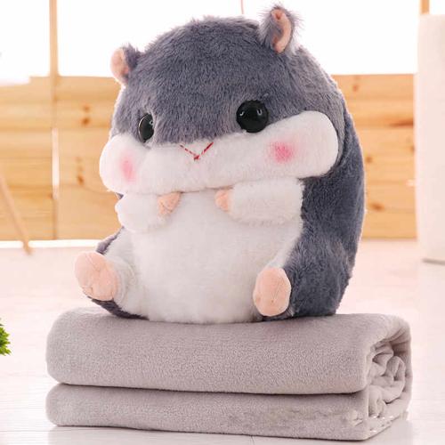 Подушка-игрушка с пледом Хомяк 3 в 1, цвет – серый.