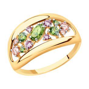 Кольцо из золота с фианитами Swarovski 81010469 SOKOLOV