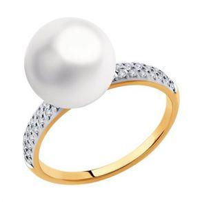Кольцо из золота с жемчугом и фианитами Swarovski 791167 SOKOLOV