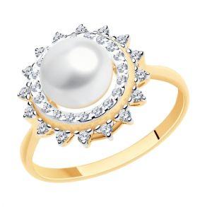 Кольцо из золота с жемчугом и фианитами 791172 SOKOLOV