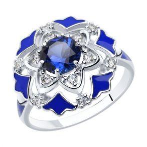 Кольцо из серебра с эмалью и синими корундами и фианитами 92011771 SOKOLOV
