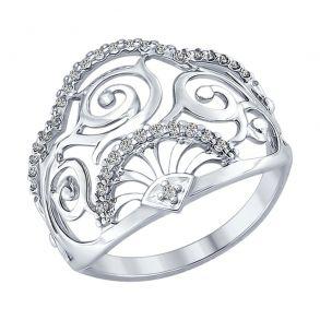 Кольцо из серебра с фианитами 94012319 SOKOLOV