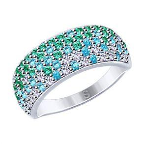 Кольцо из серебра с фианитами 94012528 SOKOLOV
