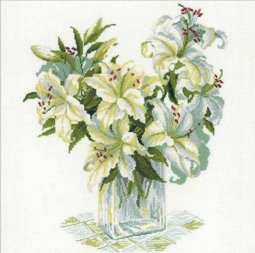 Набор для вышивания крестом Белые лилии №1169 фирма Риолис