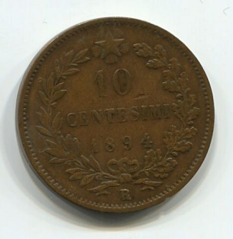 10 чентезимо 1894 года R Италия, редкий тип