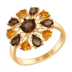 Кольцо из золочёного серебра с полудрагоценными вставками 92011411 SOKOLOV