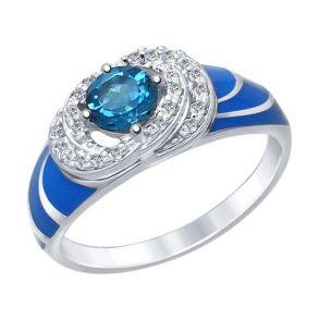 Кольцо из серебра с эмалью с синим топазом и фианитами 92011412 SOKOLOV