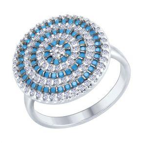 Кольцо из серебра с голубыми ситаллами и фианитами 94012469 SOKOLOV