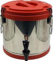 Термобочка из нержавеющей стали Steel с краном 17 литров красная