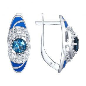 Серьги из серебра с эмалью с синими топазами и фианитами 92021558 SOKOLOV