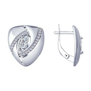 Серьги из серебра с фианитами 94022918 SOKOLOV