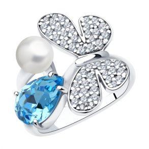 Кольцо из серебра с жемчугом Swarovski, кристаллом Swarovski и фианитами 94013127 SOKOLOV