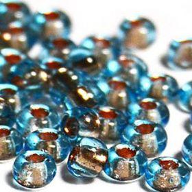 Бисер чешский 69000 прозрачный голубой медная линия внутри Preciosa 1 сорт
