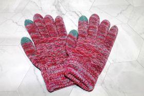 Вязаные шерстяные женские и подростковые сенсорные перчатки розовые