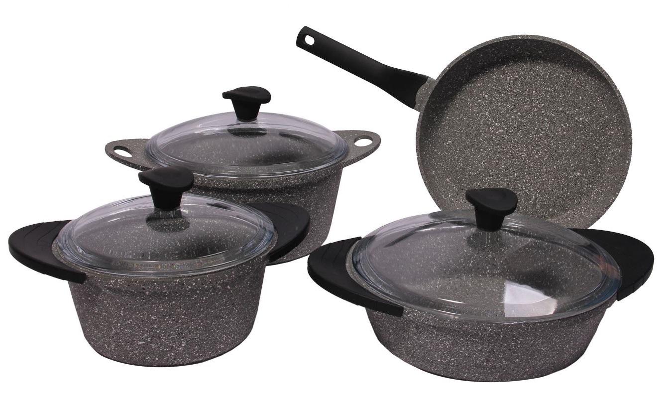 Набор посуды 7 предметов из литого алюминия с силиконовыми ручками DARIIS серый гранит, жаровня 26 см с крышкой, сковорода 26 см, кастрюля 2.8 л с крышкой, кастрюля 4.5 л с крышкой HUR-A-15251 / HUR-A-15132