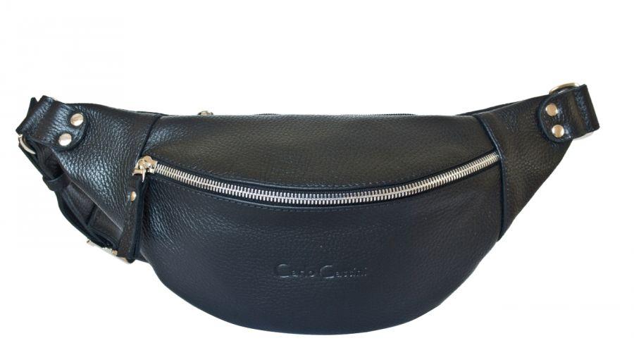 Кожаная поясная сумка Carlo Gattini Belfiore black